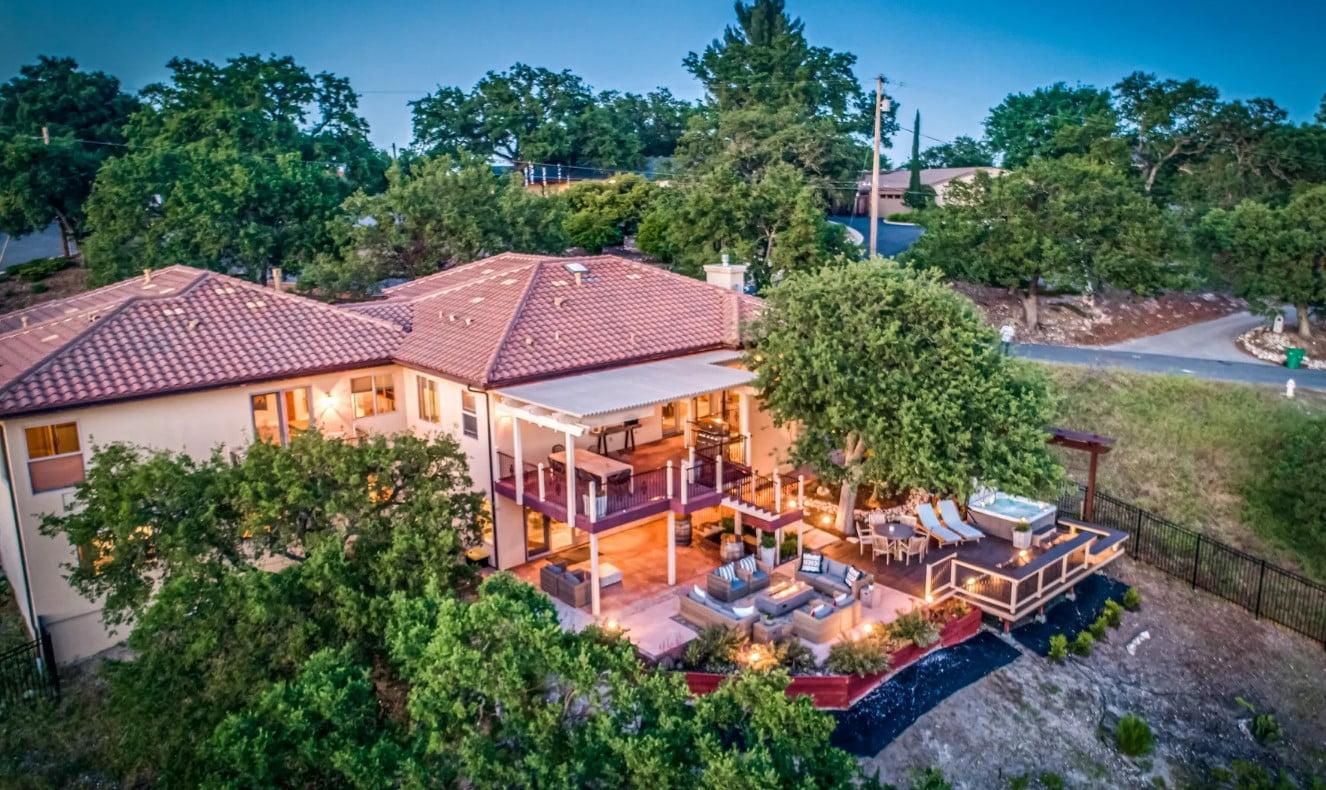 Hilltop Hacienda - Exterior - Aerial Shot - Dusk