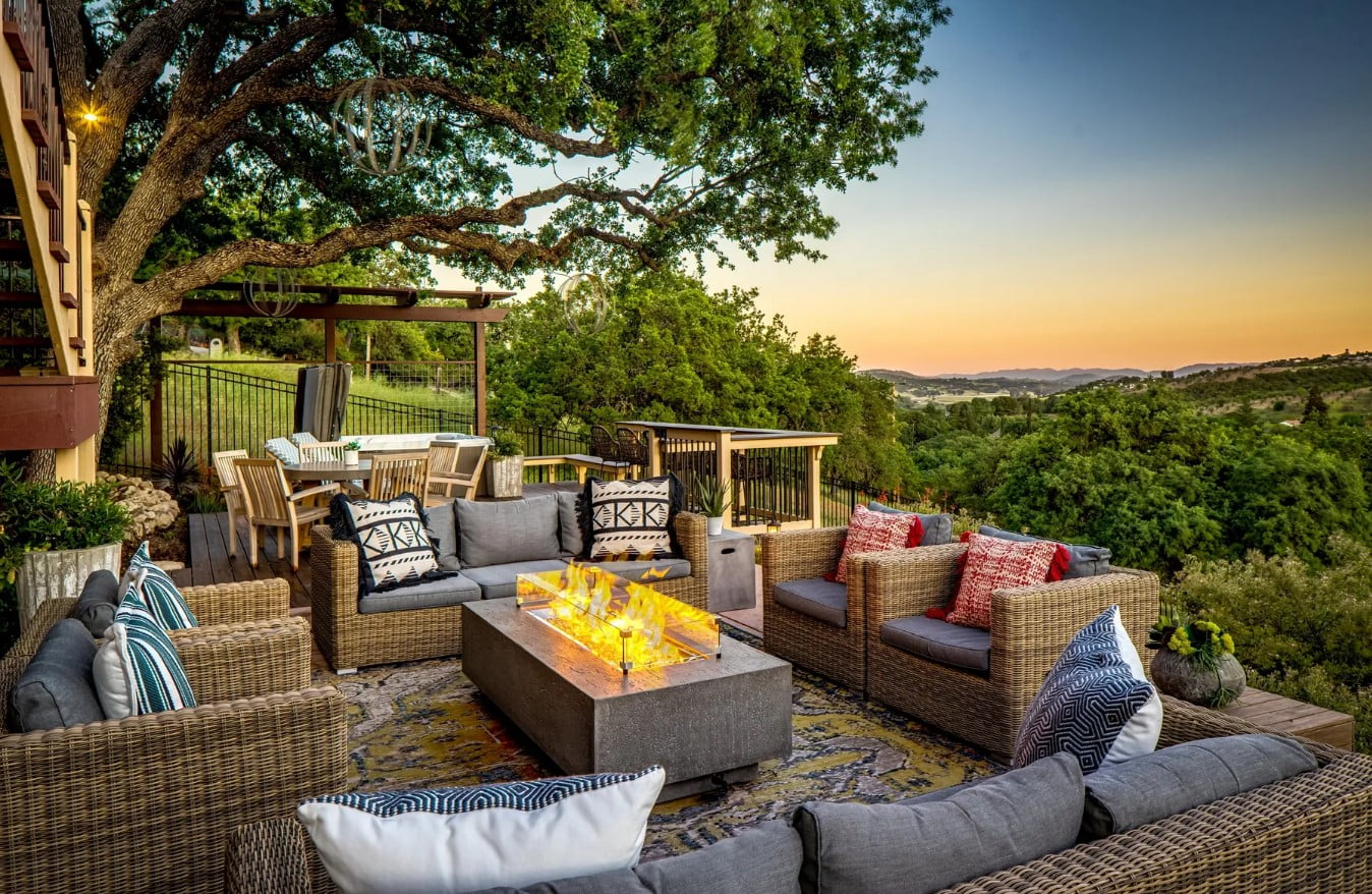 Hilltop Hacienda - Exterior - Patio with Modern Firepit and view