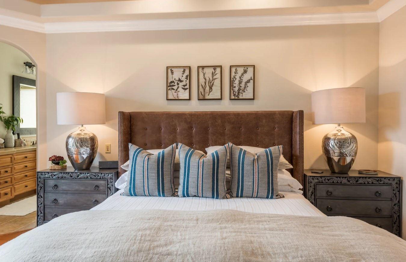 Hilltop Hacienda - Interior - Bedroom With View into Bathroom