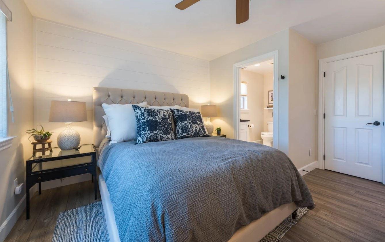 Hilltop Hacienda - Interior - Bedroom with dark linens