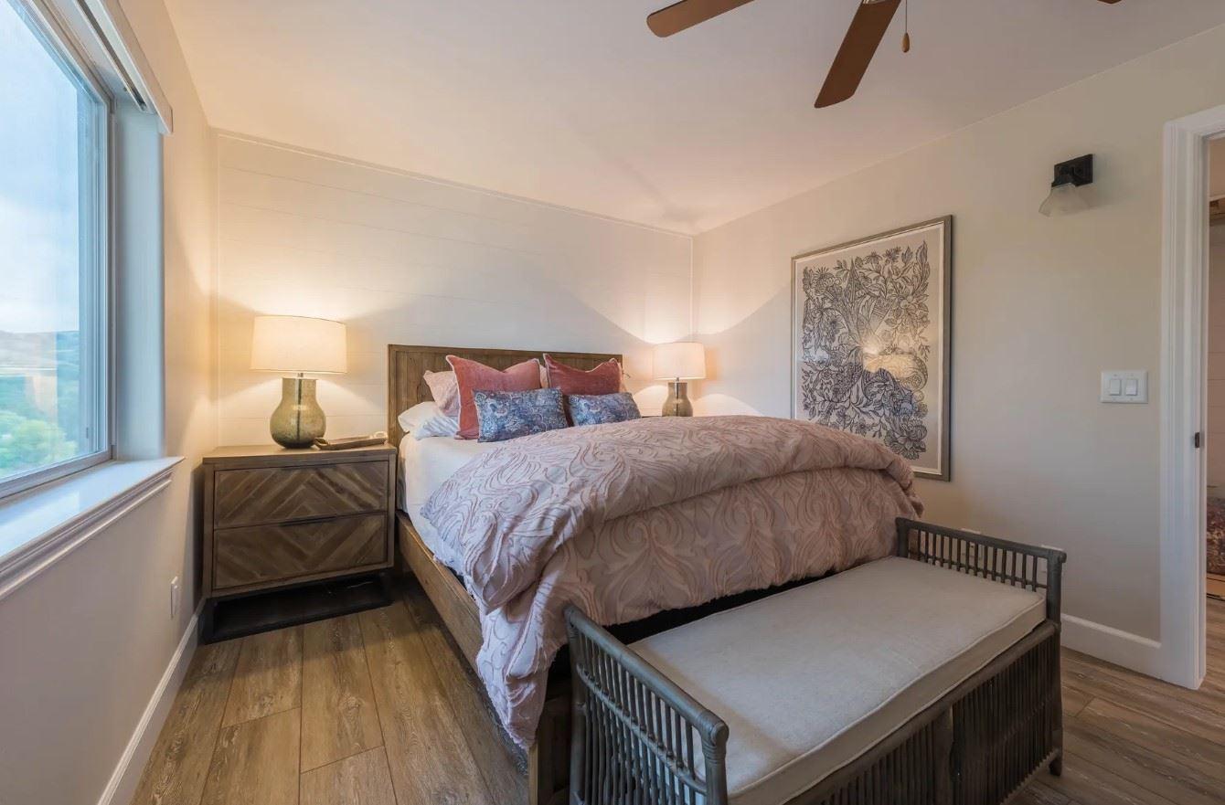 Hilltop Hacienda - Interior - Bedroom with light brown decor