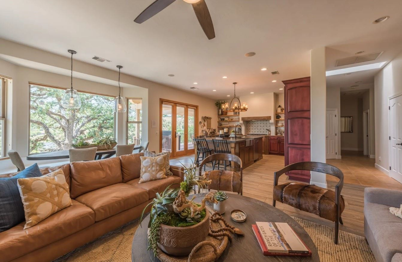 Hilltop Hacienda - Interior - Living Room with view of kitchen