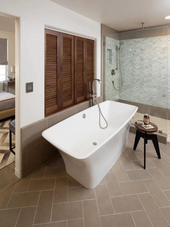 Avila Beach Retreat - Interior - Bathroom closeup with soaking tub