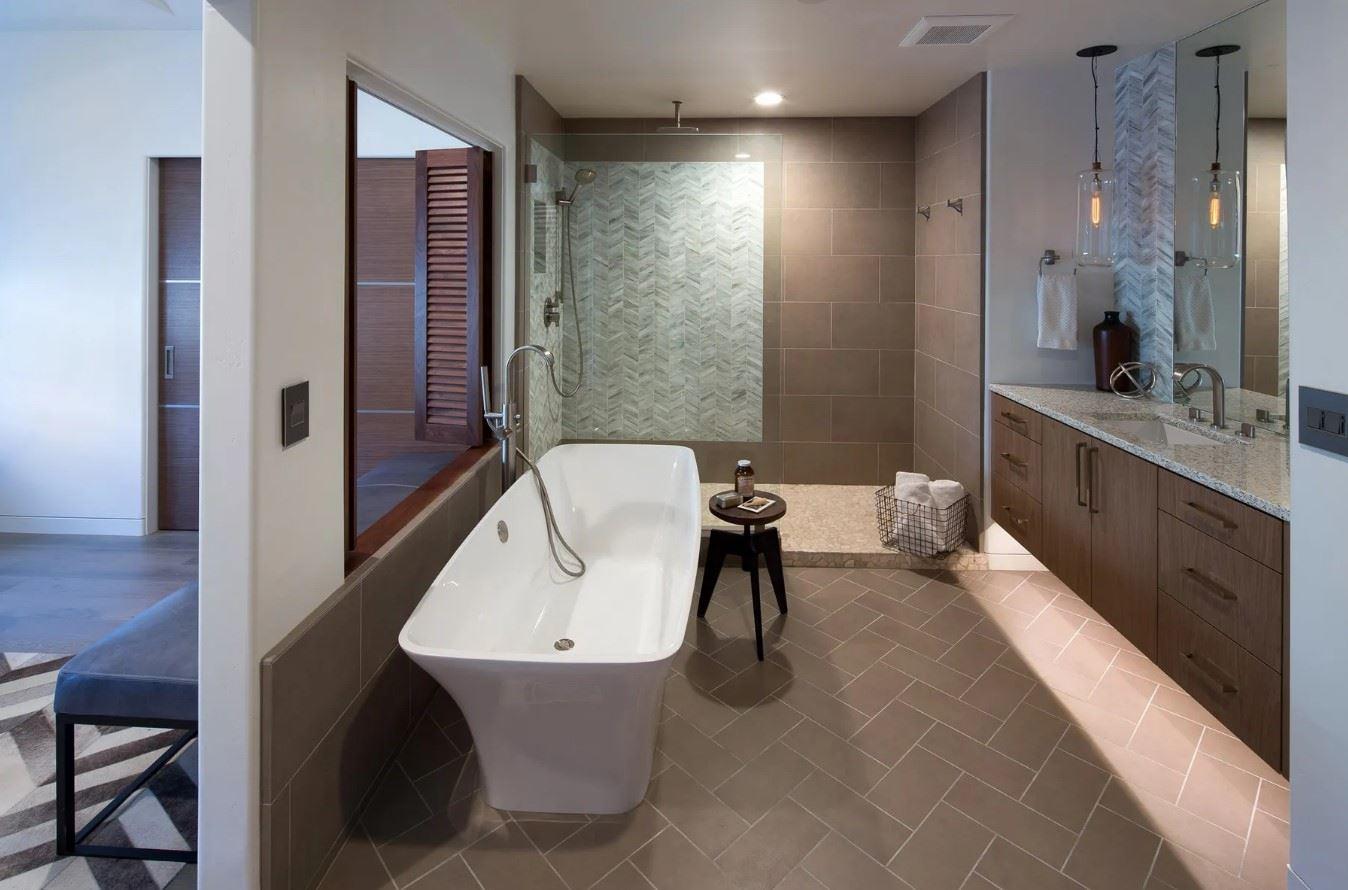 Avila Beach Retreat - Interior - Bathroom with soaking tub and rainhead shower