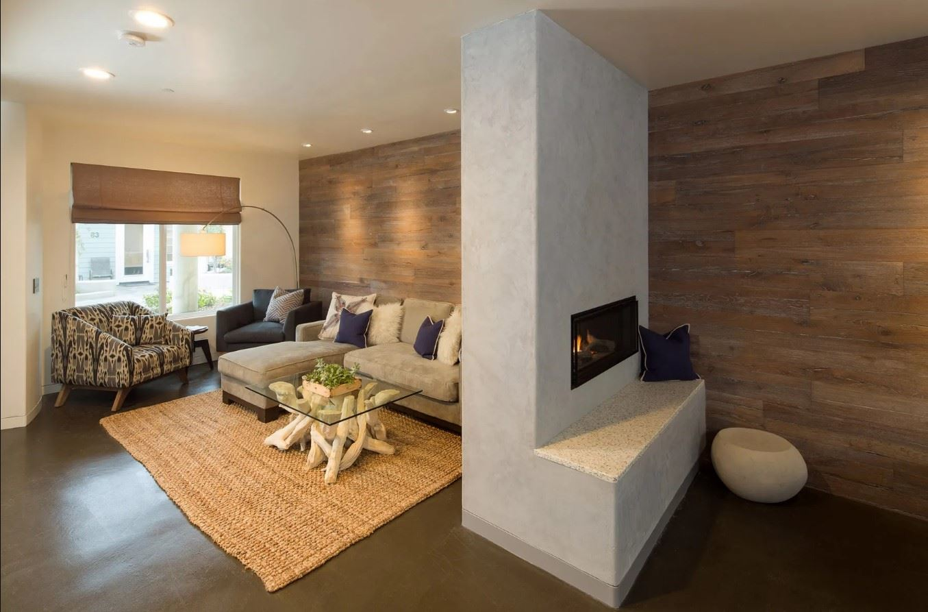 Avila Beach Retreat - Interior - View of Fireplace and Living Room