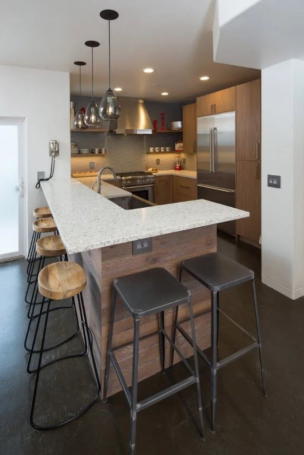 Avila Beach Retreat - View of Kitchen from barstools
