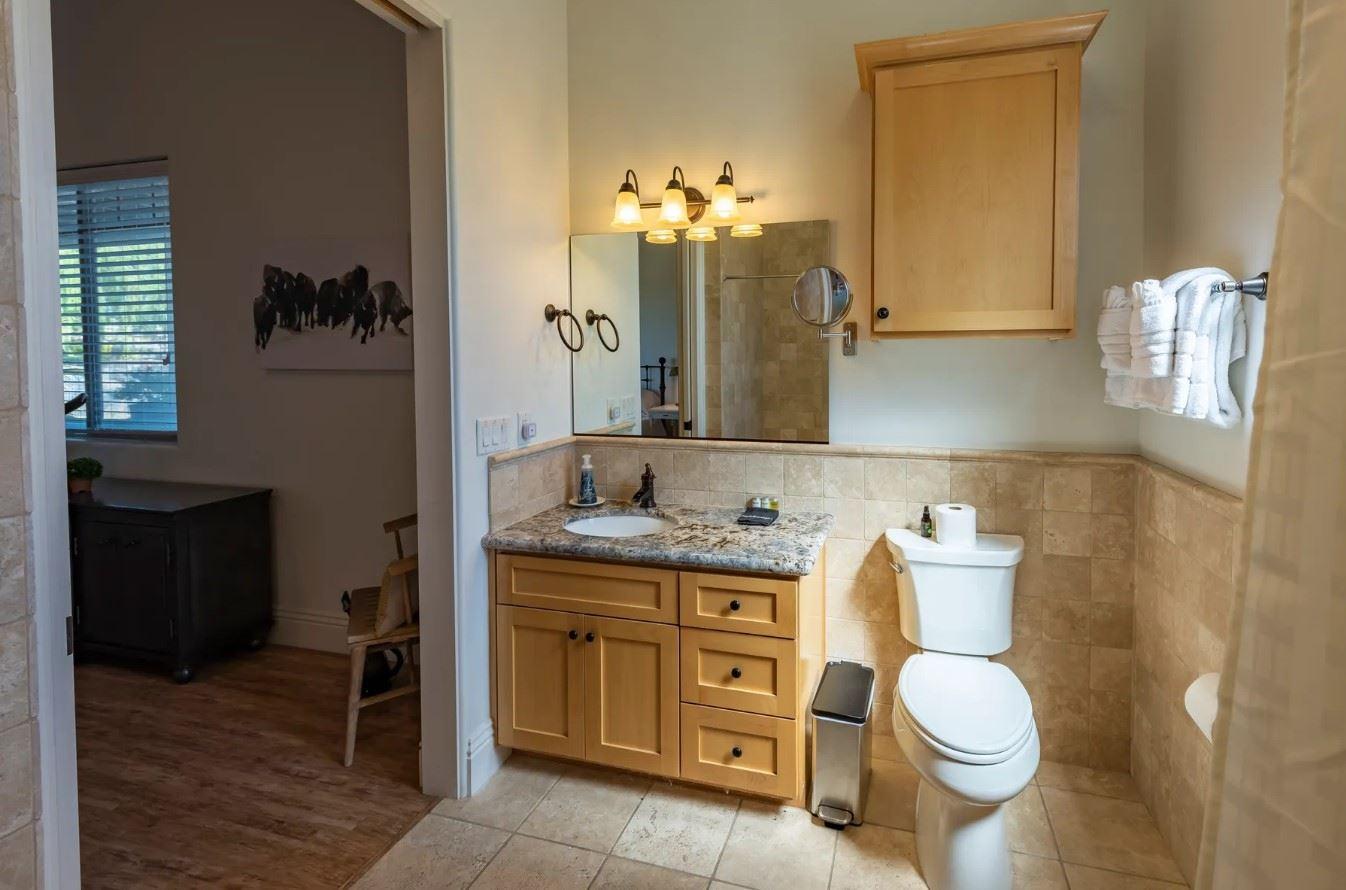 Frontier Hideaway - Bathroom view of single sink and toilet