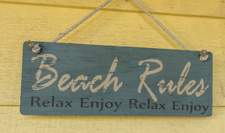 Morro Bay Rock Revival - Exterior - Beach Rules sign