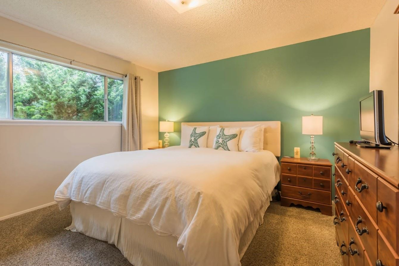 Morro Bay Rock Revival - Interior - Bedroom wide shot with green accent wall